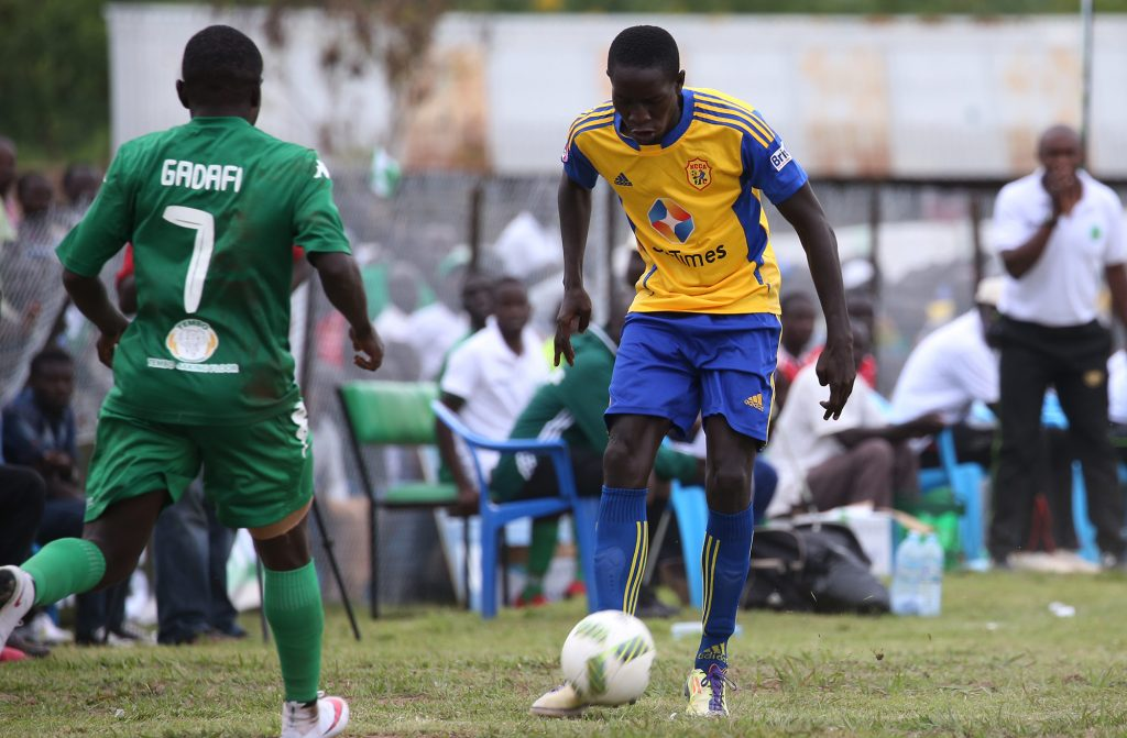 KCCA FC midfielder (R) seen here against Onduparaka at the Betway Greenlight Stadium, Senkumba and four other players have been loaned to Police FC
