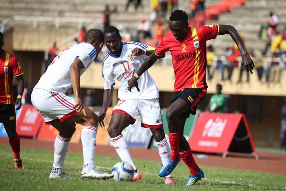 KCCA FC defender Joseph Ochaya (R) takes on Congo Brazzaville in the 2018 World Cup Qualifiers at Namboole. He is part of the Cranes team in UAE prepping for the 2017 AFCON finals in Gabon