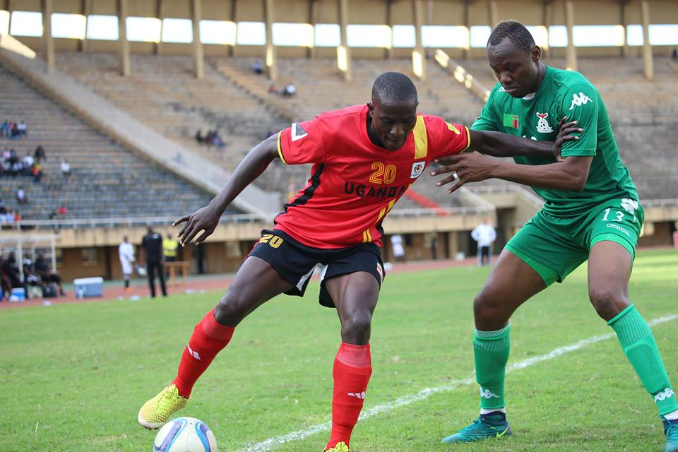 KCCA FC Striker Geoffrey Sserunkuuma against Zambia in an international friendly at Namboole, he is part of the Cranes in UAE prepping for the AFCON finals in Gabon