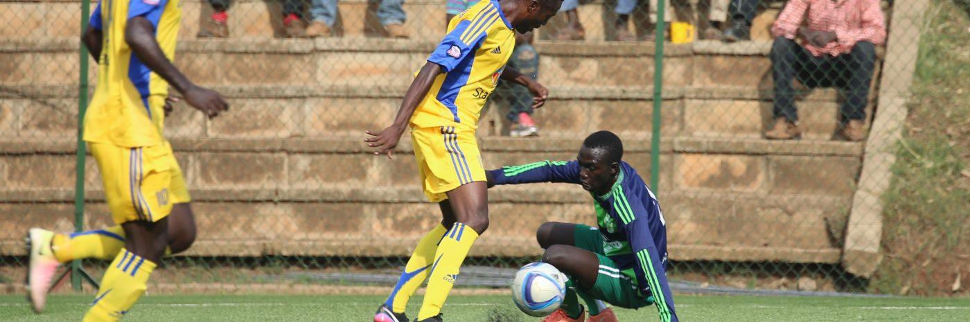 KCCA FC midfielder Brian Majwega leaves his marker for dead during the FUFA Uganda Cup tie against Koboko Rising Stars, KCCA FC won the tie 6-1