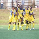 KCCA FC players celebrate ffith goal of the FUFA Uganda Cup Round of 64, it was scored by Ivan Ntege as  KCCA FC won 6-1