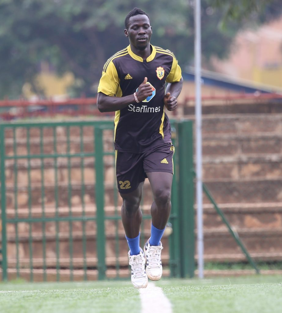 Hassan Wasswa Dazo trains at the artificial turf of the Philip Omondi Stadium on Monday afternoon, Wasswa Dazo is recovering from a meniscal tear in his left knee