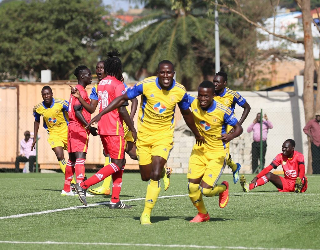 KCCA FC striker Geoffrey Serunkuuma celebrates his first goal against BUL FC, it was his 10th of the season
